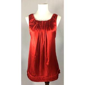[bcbgmaxaria] red pleat silk sleeveless blouse